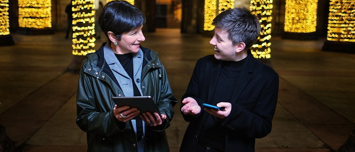 Professor Jennifer Smith, Professor of Sociolinguistics at the University of Glasgow, and Dr E Jamieson, a researcher on the project from the University of Edinburgh, launch a new online resource which maps the use of Scots across Scotland at the University of Glasgow today.