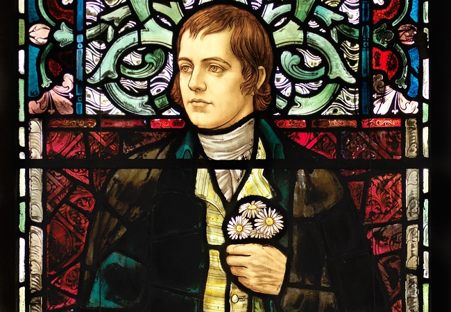 A photo of the Robert Burns stained glass window