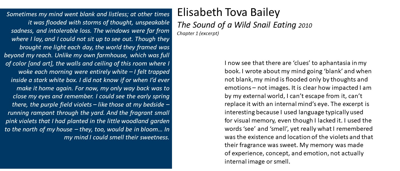 slide with text: excerpt from Elisabeth Tova Bailey's The Sound of a Wild Snail Eating, and quote: 'I now see that there are 'clues' to aphantasia in my book. I wrote about my mind going 'blank' and when not blank, my mind is flooded only by thoughts and emotions – not images. It is clear how impacted I am by my external world, I can't escape from it, can't replace it with an internal mind's eye.'