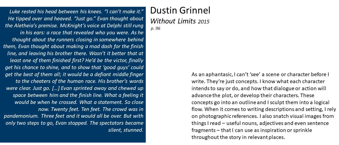 slide with text: excerpt from Dustin Grinnel's Without Limits and quote 'As an aphantasic, I can't 'see' a scene or character before I write. They're just concepts. I know what each character intends to say or do, and how that dialogue or action will advance the plot, or develop their characters. When it comes to writing descriptions and setting, I rely on photographic references.