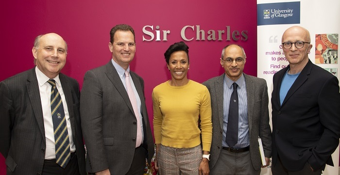 Dame Kelly Holmes with the Institute's Iain McInnes and Andy Waters