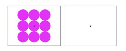 to the left,  black-lined white rectangular box containing 9 brightly coloured circles and a dot in the middle. To the right, a second empty box of the same size