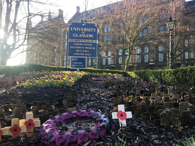 A photo of the memorial to WW1 University of Glasgow dead featuring the final WW1 cross of Douglas Wilson