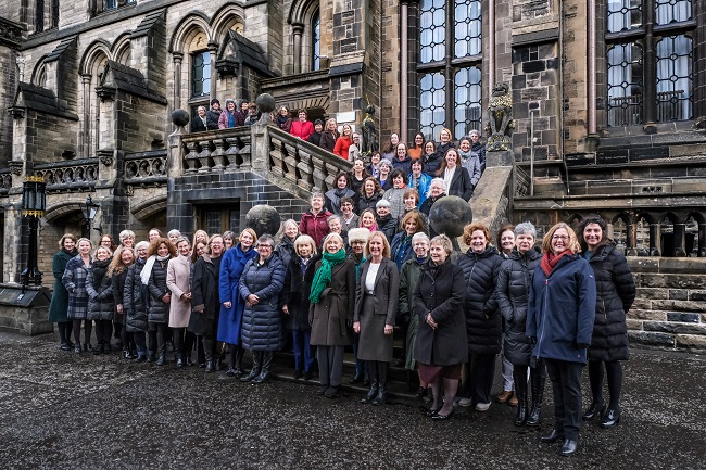 Senior women leaders at the University of Glasgow recreated the Lion & Unicorn photo for International Women's Day 2020
