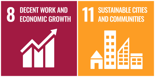 United Nations Sustainable Development Goal Icons for Goals 8 and 11