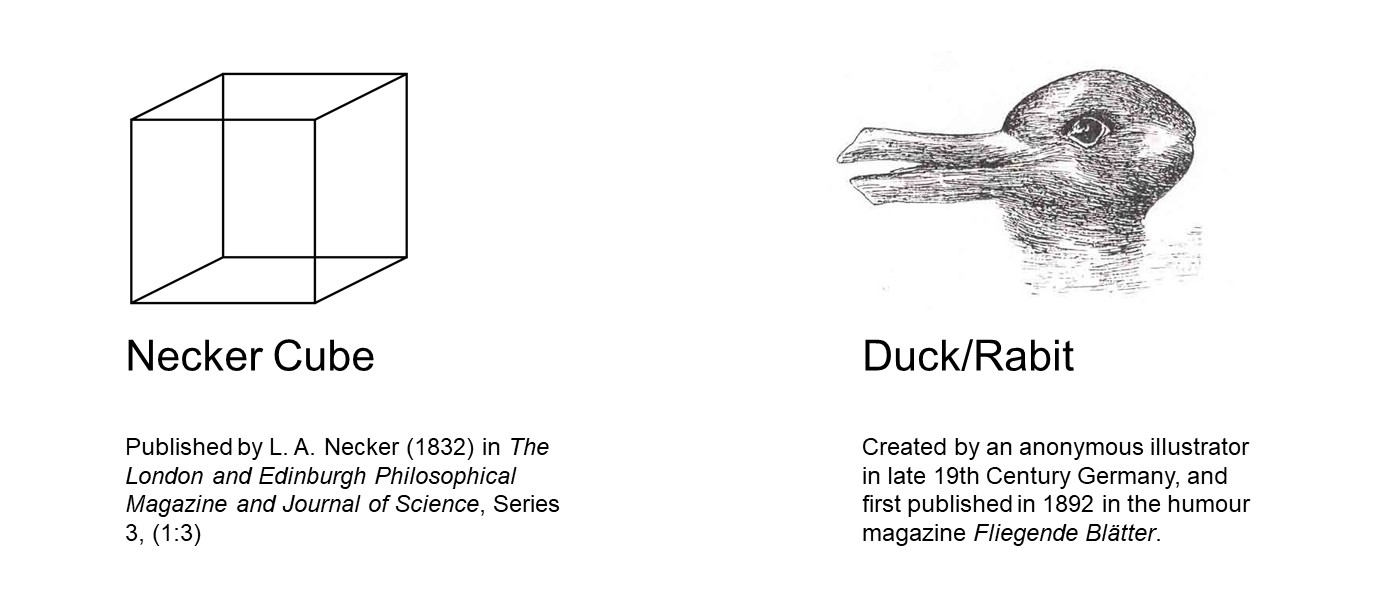 First image: Necker Cube: 12 black lines intersecting on a white background to create a cube. Lack of depth creates an uncertainty over which lines are closer or farther from the viewer. Second image: Duck/Rabbit: a sketch of an animal that looks both like a duck with its bill facing to the left and a rabbit with its muzzle facing to the right, horizontal ears extending into previous duck's bill