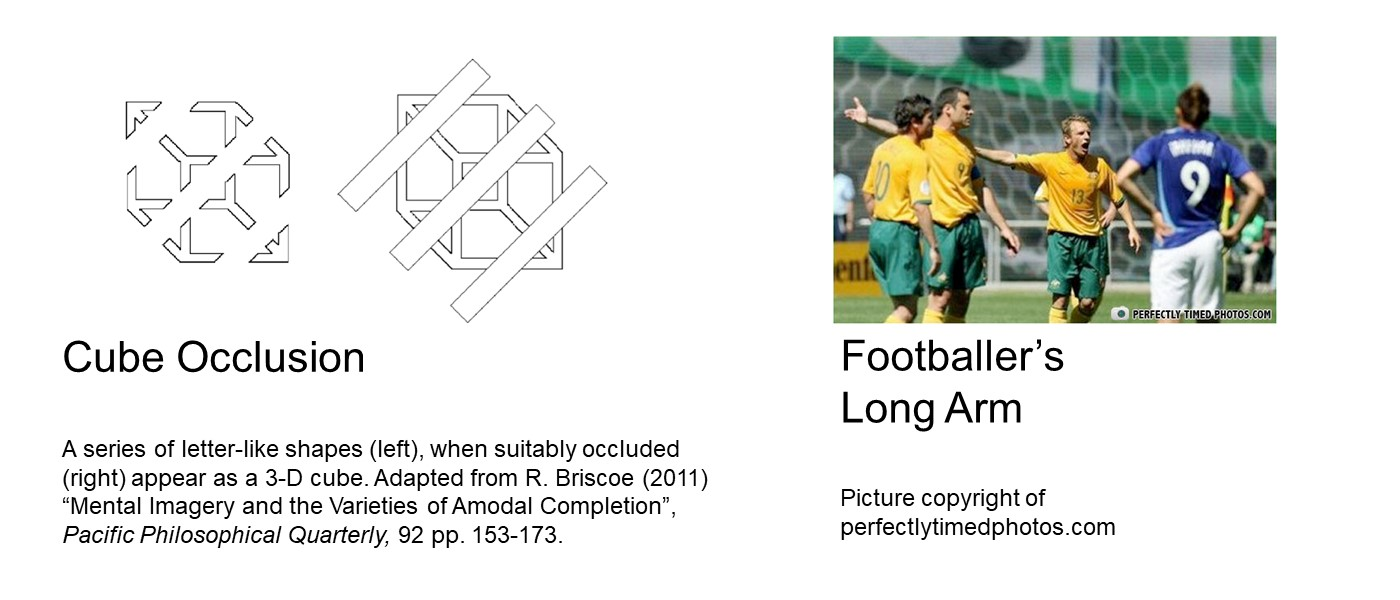 First image: cube occlusion: 3D cube made out of thin bars, with 3 diagonal blank bars going over the 2/6th, middle and 4/6th so when expanded, the cube dissolves in a pile of K, Y and arrows. Second image: photo of 4 white men in footballer's attire, with 2 of them pointing left. Shoulder of the second man is hidden behind the first, so the third man looks like he has an unnaturally long arm.