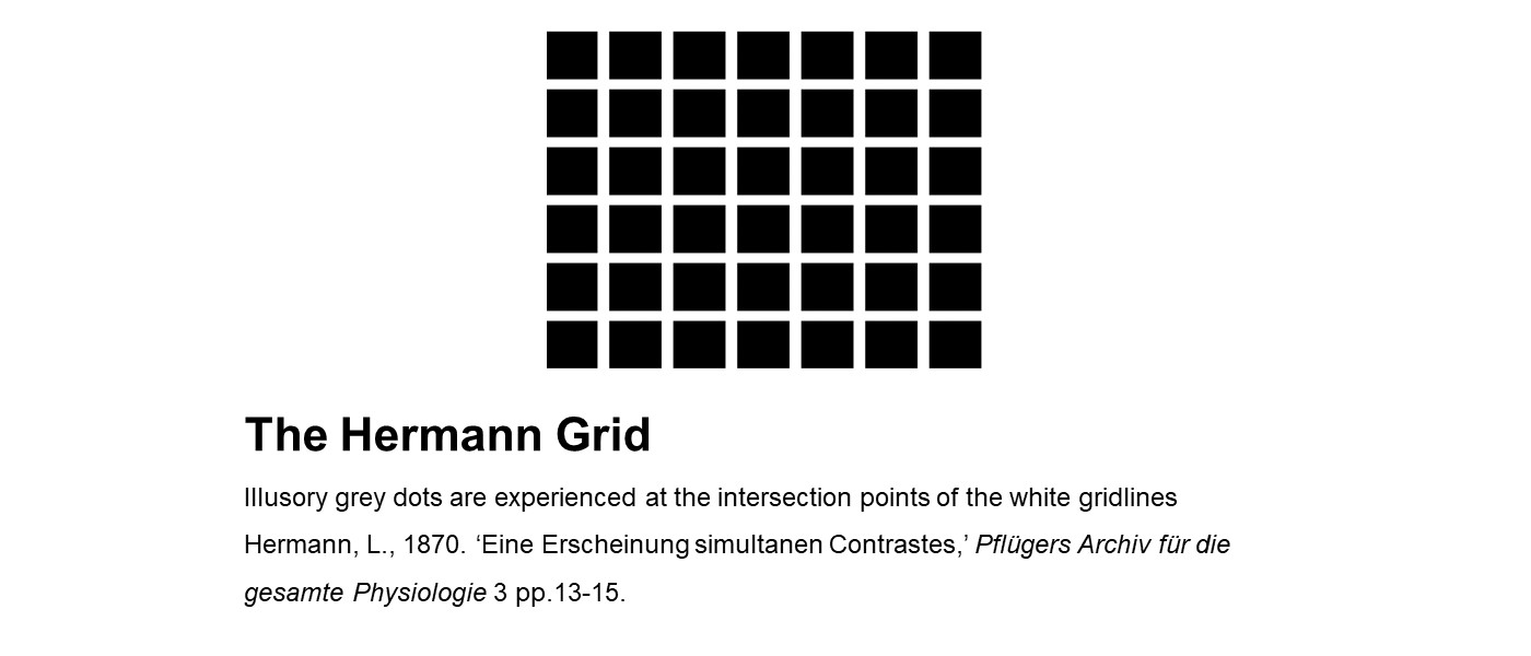 The Hermann Grid: a black rectangle with white gridlines to create a 7 by 6 table. Illusory grey dots are experienced at the intersection points of the white gridlines
