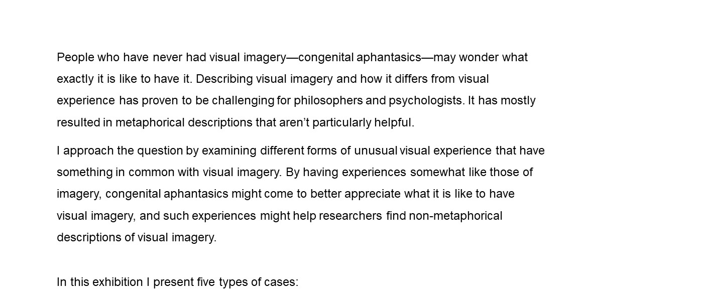 People who have never had visual imagery—congenital aphantasics—may wonder what exactly it is like to have it. Describing visual imagery has mostly resulted in metaphorical descriptions that aren't particularly helpful. I approach the question by examining different forms of unusual visual experience that have something in common with visual imagery. In this exhibition I present 5 types of cases: