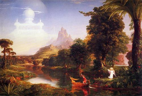 historical painting of a panoramic view of a lake surrounded by giant exotic trees with lush canopies and a rolling rocky hilly landscape in the background culminating in a rocky mountaintop. 2 small figures in foreground - a woman in a red dress on an ornate boat on the lake, and an angel with wings and halo dressed in white. The clouds form a semitransparent palace in the sky