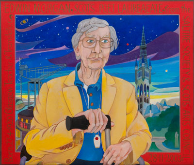 Alasdair Gray, Portrait of EM (Edwin Morgan) (1920-2010), 2003 - 2004. Courtesy The Alasdair Gray Archive.