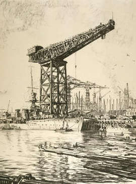 Muirhead Bone etching of crane at Fairfield Shipyard Glasgow 1930s
