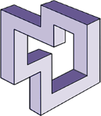 CSPE logo: a continuous three-dimensional volume made out of ten purple bars lit in such a manner that there is no distinction between the front and back of the shape