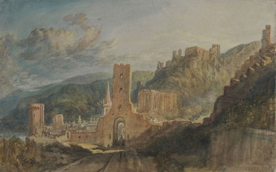 Joseph Mallord William Turner, Bacharach and Burg Stahleck, Bodycolour and watercolour, 1817.