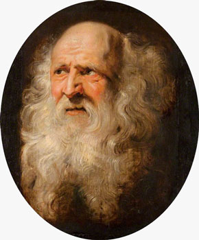 Peter Paul Rubens, Head of an Old Man with Curly Beard, Oil on panel, c. 1609.