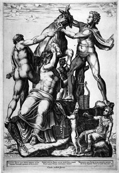 Diana Mantovana, Amphion and Zethus Tying Dirce to a Wild Bull (The Farnese Bull), Engraving, 1581.