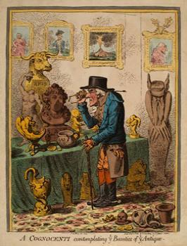 James Gillray, A Cognocenti Examining ye Beauties of ye Antique, Etching, with original hand colour, 1801.