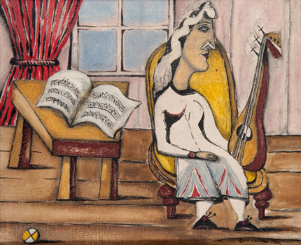 Cecil Collins, The Musician, Oil on canvas, 1943.