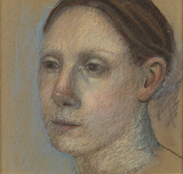 Alison Watt, Head of a Young Woman, Pastel on brown paper, 1994.