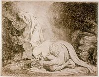 Etching of a witch crouched over a mandrake root