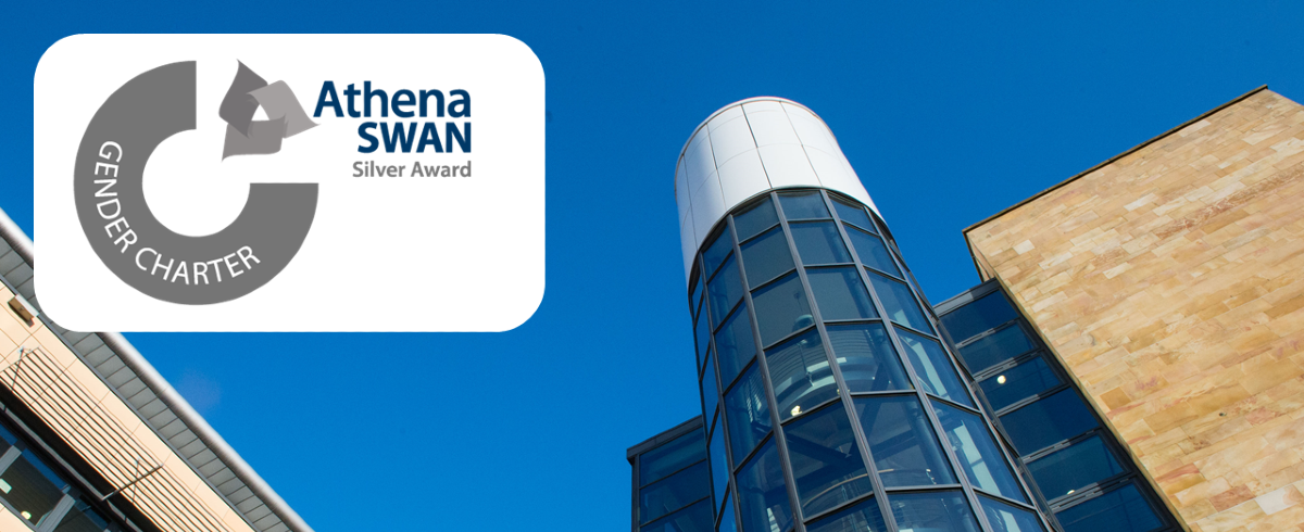 Athena SWAN silver award graphic over an angled shot of the Sir Graeme Davies Building