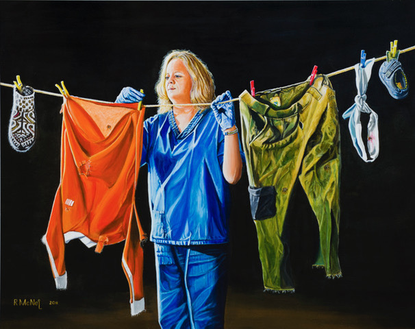 A painting by Robert McNeil - forensic hanging items on a washing line near Srebrenica