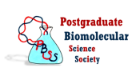 A colourful Postgraduate Biomolecular Science Society logo in text accompanied by narrow-neck flask