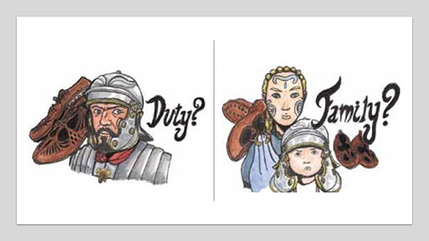 Head and shoulder cartoon drawings of a man in Roman dress, a woman in celtic dress and a boy wearing a roman soldier's helmet