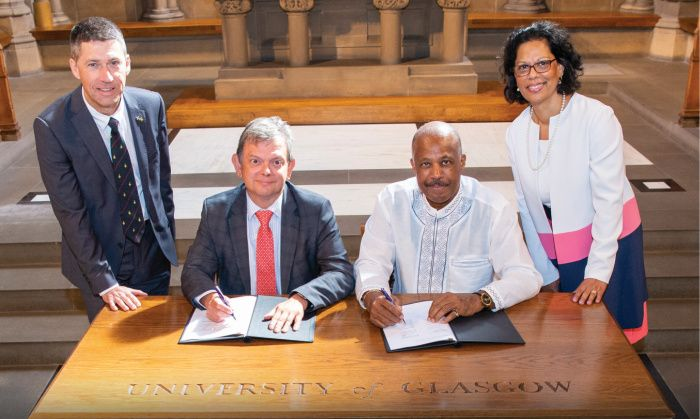 The signing of the Memorandum of Understanding between the University of Glasgow and The University of the West Indies in August 2019