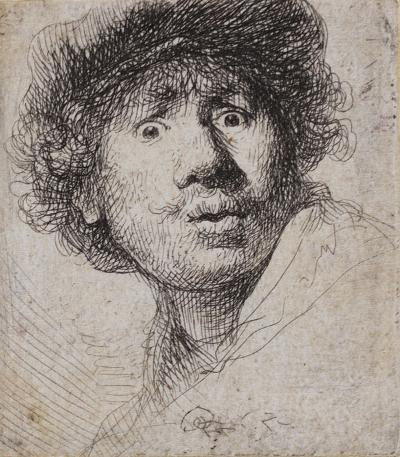 Rembrandt van Rijn, Self Portrait in a Cap, Open-Mouthed, 1630. Etching, print, printed in black on antique laid paper. GLAHA:288.