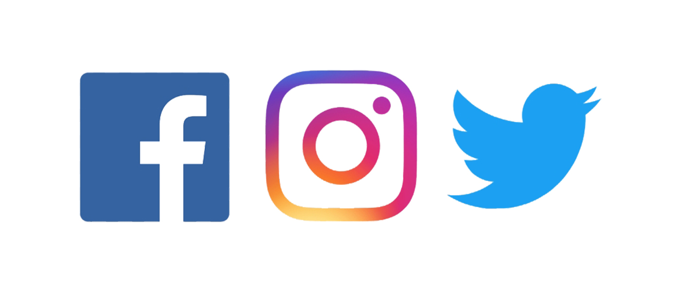 Facebook, Instagram and Twitter logos