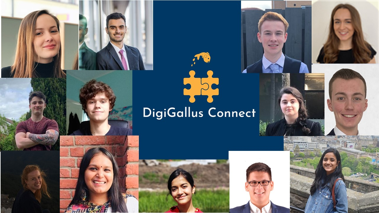 Students smiling surrounding DigiGallus Connect logo