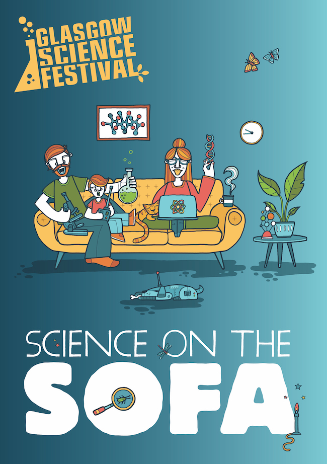 The hand-drawn promotional poster for the Science on the Sofa programme, showing a man, woman and child on the sofa with a laptop and a selection of science experiments