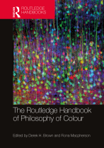 Routledge Handbook of Philosophy of Colour book cover featuring a scientific image of numerous multicolour cells from the cortex