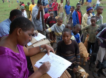People registering for dog vaccinations, Tanzania