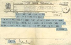 Telegram from Princess Louise regarding patient care at Erskine