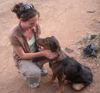 Professor Katie Hampson with dog in Tanzania