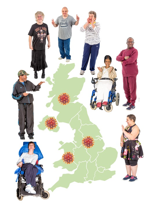 People with learning disabilities pictured around a map of the UK
