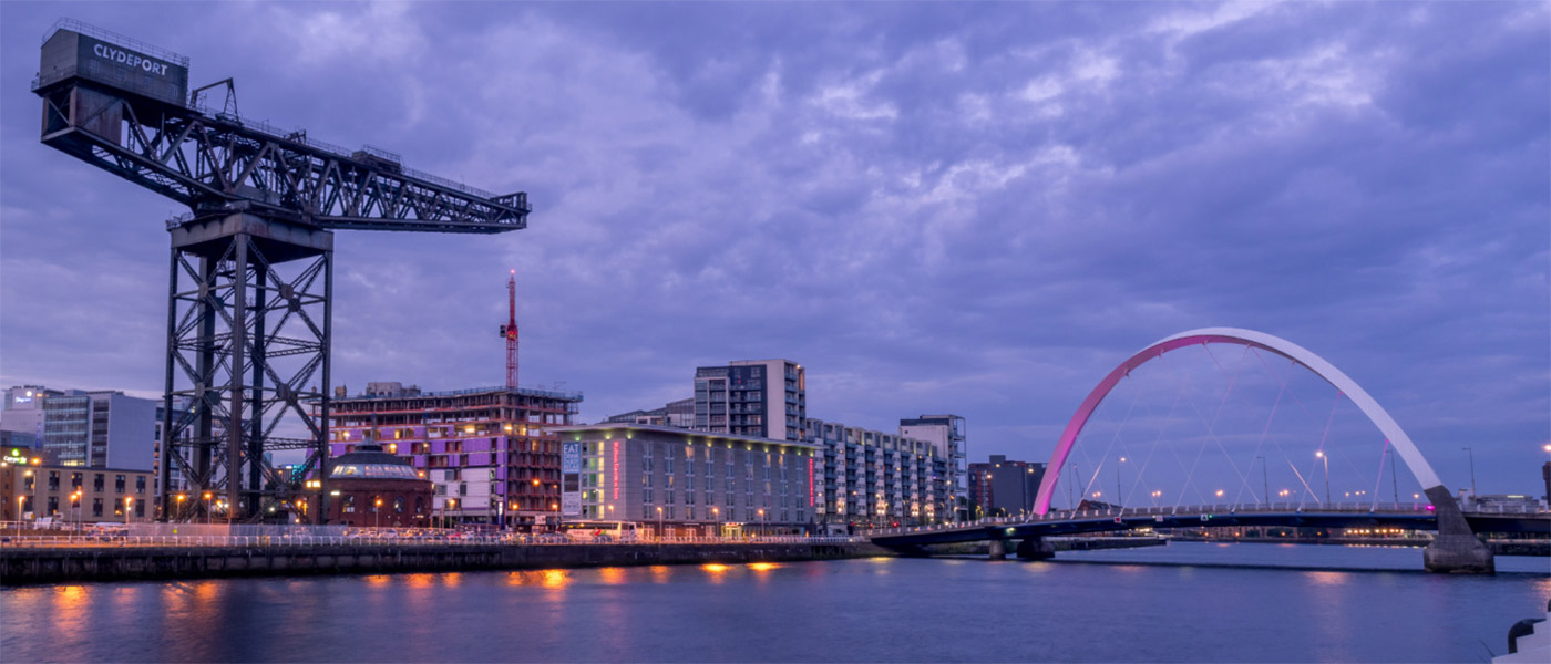 Image of Glasgow viewed from the river Clyde at night