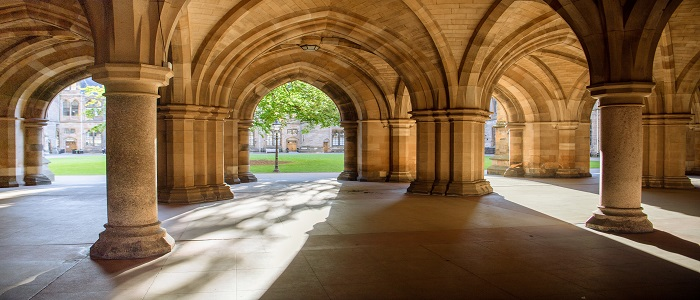 Sunshine coming through University of Glasgow Cloisters
