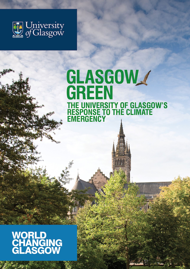 The front cover of Glasgow Green, the University of Glasgow's climate strategy document