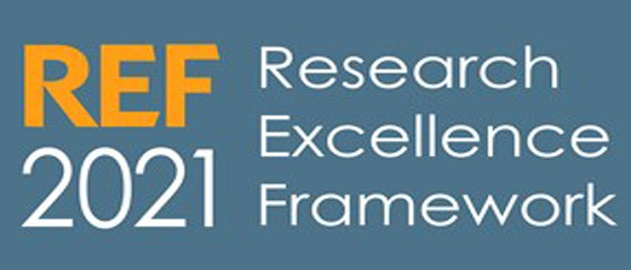 REF 2021 logo which says Research Excellence Framework
