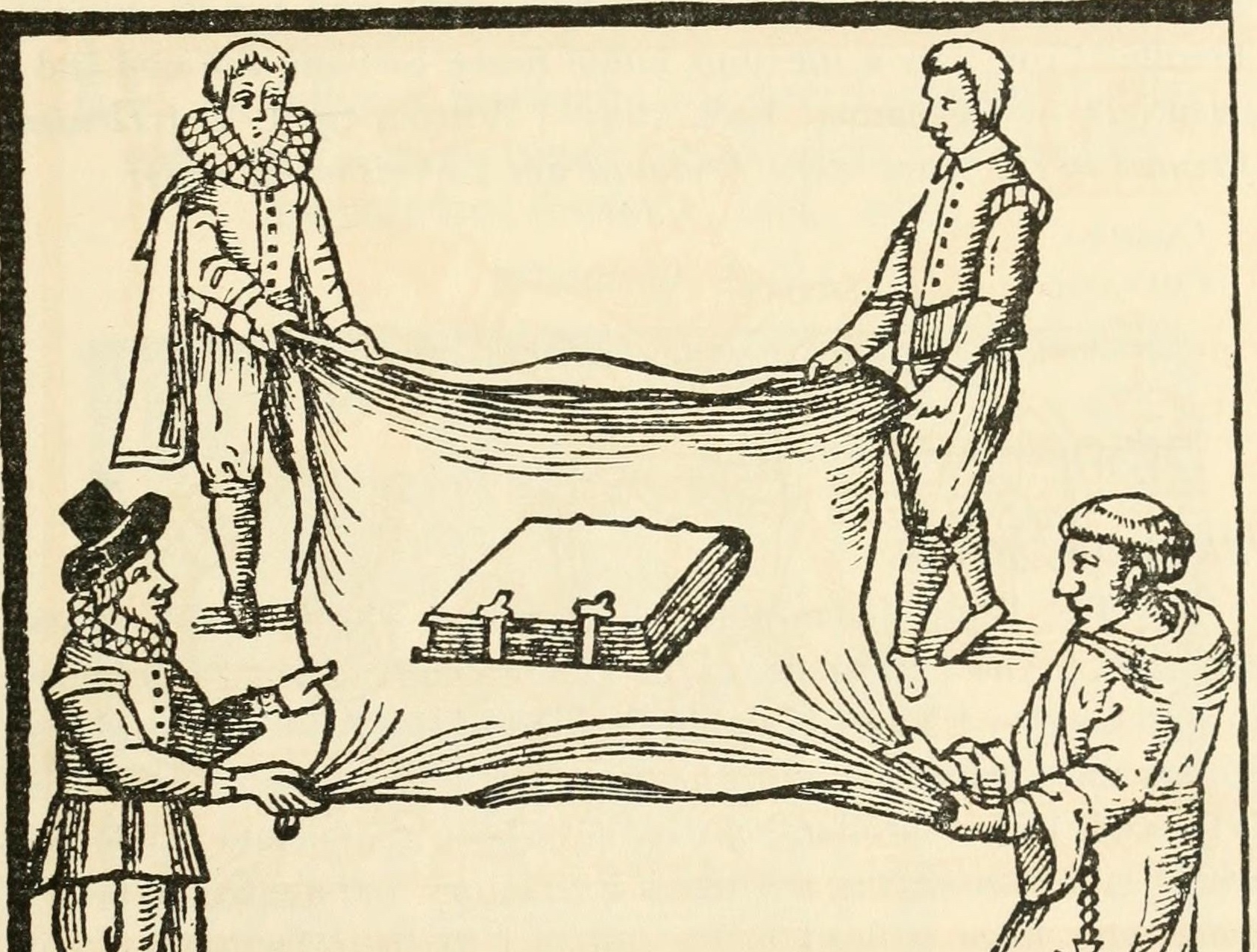 A woodcut showing a book held on a sheet