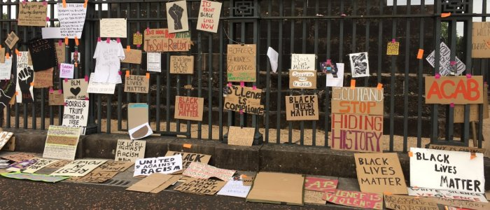 Home-made Black Lives Matter messages on railings