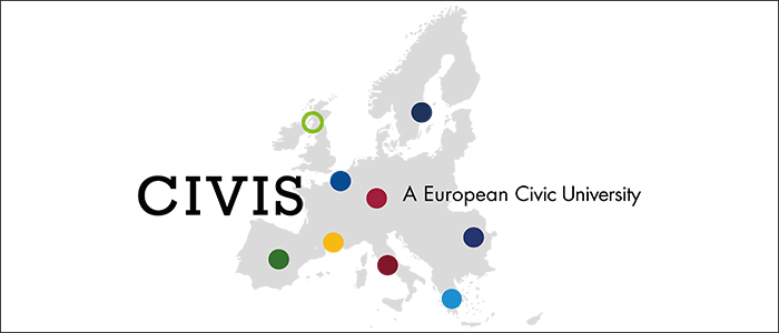 Logo representing the CIVIS alliance showing partner institutions as dots on a map of Europe
