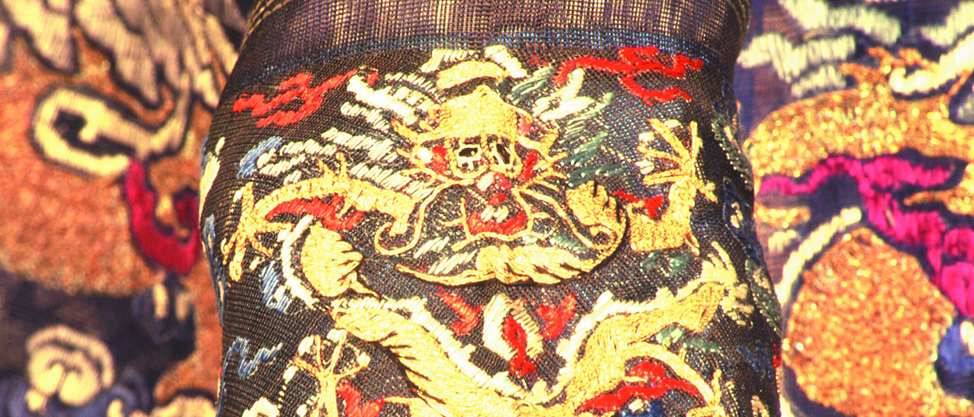 Cuff of an embroidered robe with dragon detail