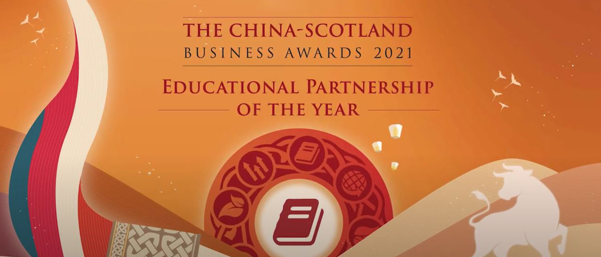 The China-Scotland Business Awards 2021 branding - displaying text Education Partnership of the Year