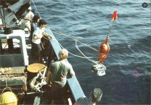 R.V Thomas Washington, Scripps Inst. of Oceanography, USA.  Sampling between Tahiti and Hawaii, Pacific Ocean, 1987.  Freefall equipment being deployed for sampling manganese nodules on the seabed, 5,000 meters water depth