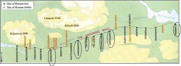 The locations of the forts investigated along the Antonine Wall (from Breeze 2004)