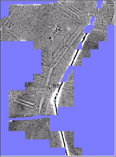 Grey-scale graphic of the magnetic survey at Balmuildy.  At the top is the fort;  WP is a modern water pipe.